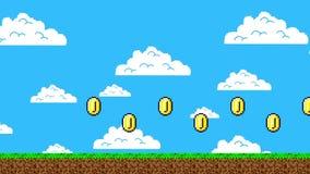 Rastro de monedas de oro en Arcade Video Game stock de ilustración