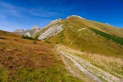 Rastro de montaña en las montañas de Tatry Bielskie Imagen de archivo libre de regalías