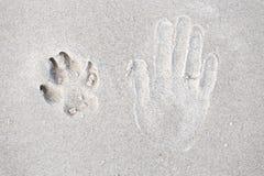 Rastro de pata humana de la mano y del perro en la arena Fotos de archivo libres de regalías