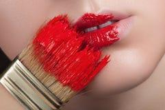Rastro de pintura en los labios Fotos de archivo libres de regalías