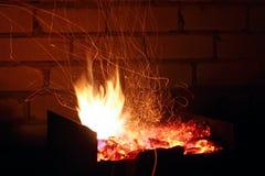 Rastro de Sparkls de la llama Foto de archivo