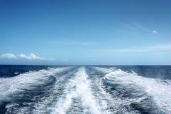 Rastro del barco de motor Fotografía de archivo