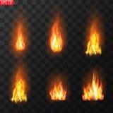Rastro del fuego Efecto especial de los elementos translúcidos ardientes de las llamas El fuego ardiente realista flamea efecto d stock de ilustración