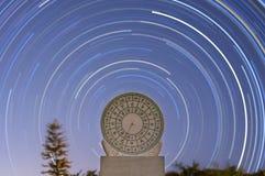 Rastro del reloj de sol y de la estrella Fotografía de archivo