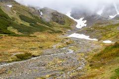 Rastro en el glaciar marcial fotos de archivo
