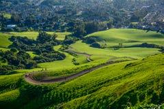 Rastro en la montaña verde en la primavera Imagenes de archivo