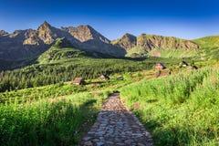 Rastro hermoso en Tatras que lleva a los refugios de la montaña, Polonia Fotos de archivo
