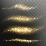 Rastro ligero de las partículas del reflejo que brilla para el día de fiesta de la Navidad o del Año Nuevo Efecto de oro de la ca libre illustration