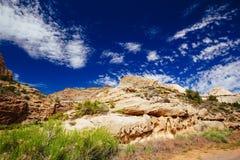 Rastro magnífico del lavado, parque nacional del filón capital, Utah, los E.E.U.U. Foto de archivo libre de regalías