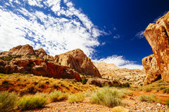 Rastro magnífico del lavado, parque nacional del filón capital, Utah, los E.E.U.U. Fotografía de archivo libre de regalías