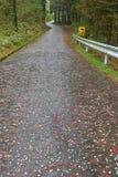 Rastro que camina de Nakasendo de Magome a Tsumago, Japón con warni imagen de archivo