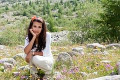 Rastro y adolescente suizos de naturaleza del glaciar de las montan@as Fotos de archivo libres de regalías