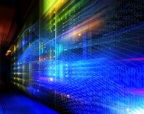 Rastros abstractos de la luz de la imagen visualización de los ataques del pirata informático en el servidor de datos de la infor Imagen de archivo