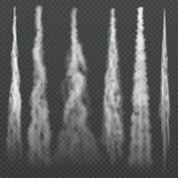 Rastros ahumados de la luz de la condensación de los aviones en cielo Humo que se arrastra del jet El avión de niebla del rastro, ilustración del vector