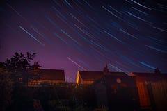 Rastros de la estrella sobre Meols, Wirral imagen de archivo libre de regalías