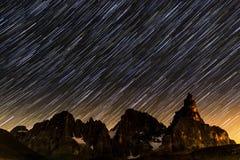 Rastros de la estrella sobre Pale di StMartino Fotos de archivo libres de regalías