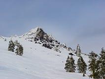 Rastros del esquí a través de la nieve Imagen de archivo libre de regalías