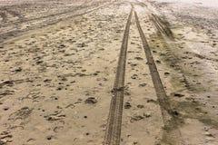 Rastros en la arena en la orilla de Holanda septentrional Foto de archivo