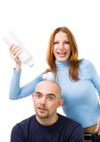 Rasur zum Kopf des fetten Mannes Lizenzfreies Stockbild