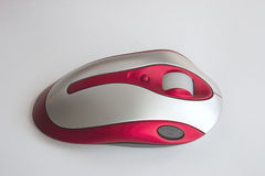 Ratón óptico rojo y de plata Imágenes de archivo libres de regalías