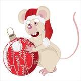 Ratón blanco y la Navidad de la bola Imagen de archivo