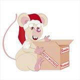 Ratón blanco y la Navidad del paquete Imagen de archivo