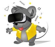 Ratón cómico divertido usando los vidrios de la realidad virtual Tecnolog?a futura Videojuego que juega animal lindo Vidrios mode libre illustration
