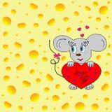 Ratón con el corazón Foto de archivo libre de regalías
