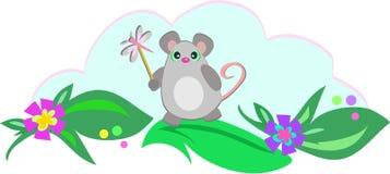 Ratón con el palillo de la libélula Foto de archivo libre de regalías