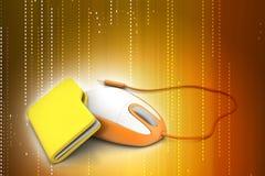 Ratón con la carpeta de archivos Imagen de archivo libre de regalías