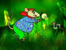 Ratón con los gusanos Fotos de archivo libres de regalías