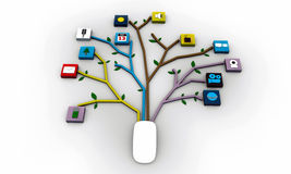 Ratón conectado con los icones de los usos Imagen de archivo