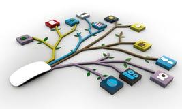 Ratón conectado con los icones de los usos Fotografía de archivo