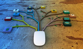 Ratón conectado con los icones de los usos Fotos de archivo