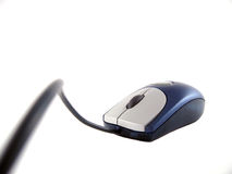 Ratón corded azul Fotos de archivo libres de regalías