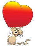 Ratón de la historieta con el corazón Imagenes de archivo