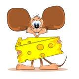 Ratón de la historieta con queso Fotos de archivo libres de regalías
