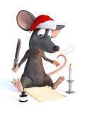 Ratón de la historieta que lleva el sombrero de Papá Noel y que escribe el list d'envie de la Navidad libre illustration