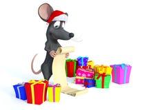 Ratón de la historieta que lleva el sombrero de Papá Noel y que lee el wishl largo de la Navidad ilustración del vector