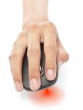 Ratón de la PC del laser de la mano w Foto de archivo