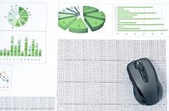 Ratón de la PC en las hojas de balance Foto de archivo libre de regalías