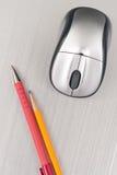 Ratón de la pluma, del lápiz y del ordenador Imagen de archivo libre de regalías