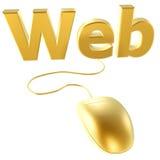 Ratón de oro y Web Imagen de archivo