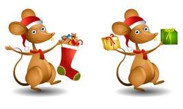 Ratón de Santa de la historieta ilustración del vector