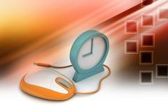 Ratón del despertador y del ordenador Fotografía de archivo libre de regalías