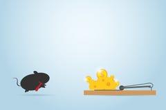 Ratón del negocio que salta en la ratonera, concepto del negocio Fotografía de archivo libre de regalías
