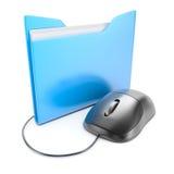 Ratón del ordenador con la carpeta Imagen de archivo