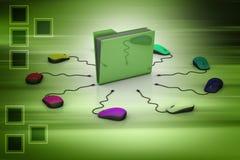 Ratón del ordenador con la carpeta de archivos Fotografía de archivo libre de regalías