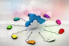 Ratón del ordenador conectado con una nube Imagenes de archivo