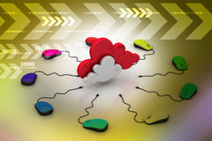 Ratón del ordenador conectado con una nube Fotografía de archivo libre de regalías
